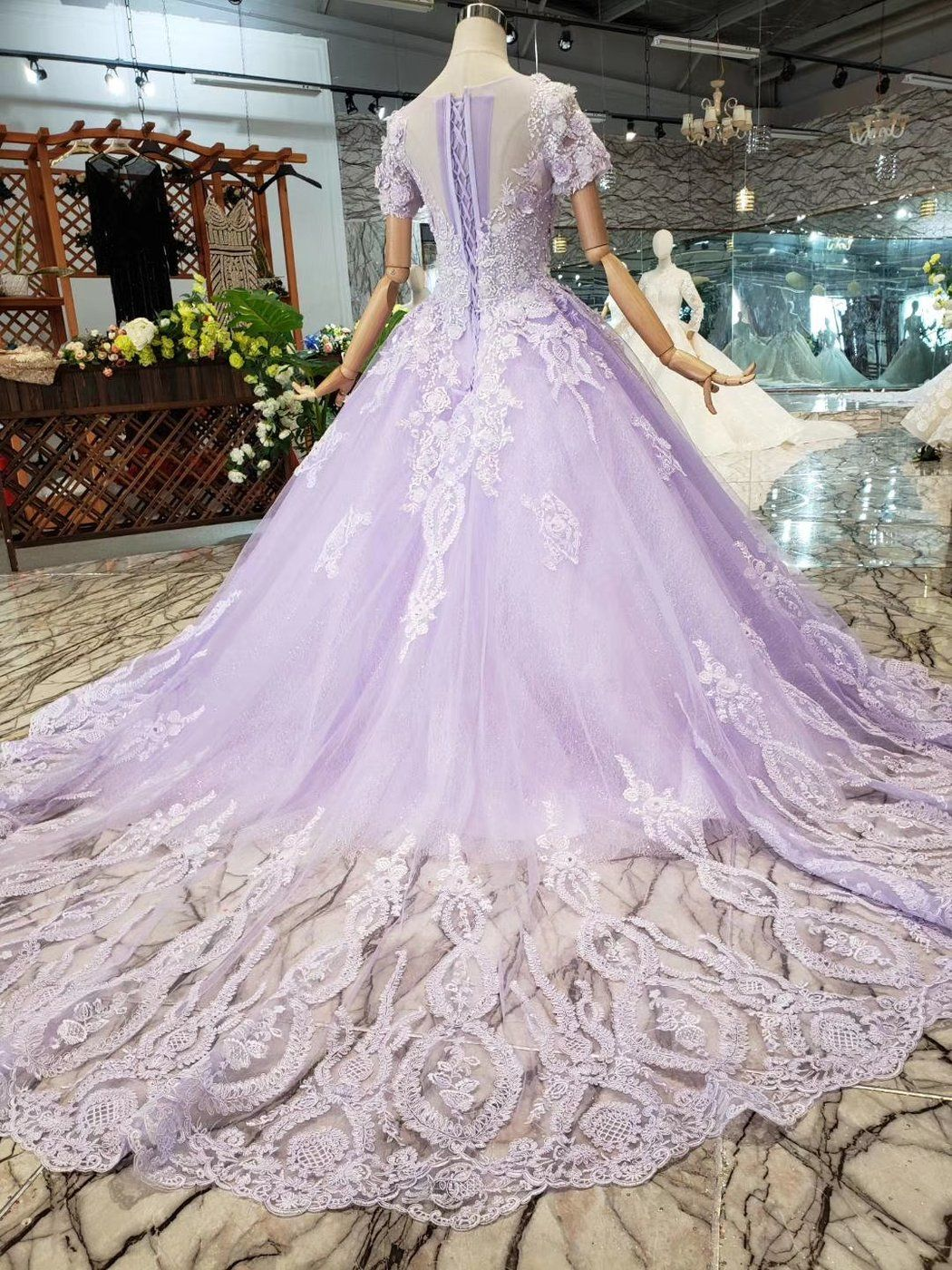 Light Purple Lace Middle Waist Short Sleeve Long Tail Wedding