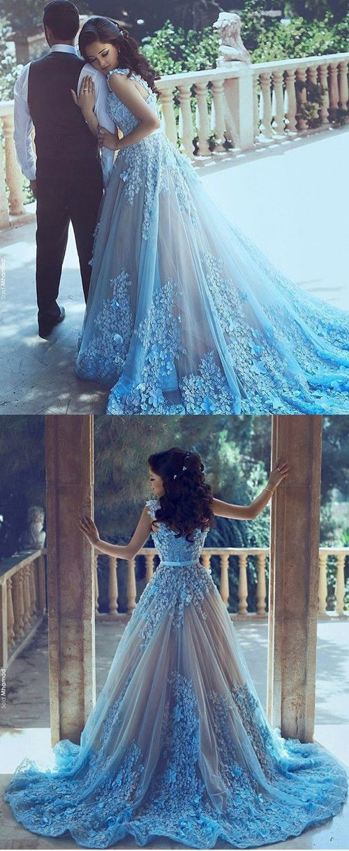 A-Line Sequare Chapel Train Sleeveless Blue Tulle Wedding Dress with ...