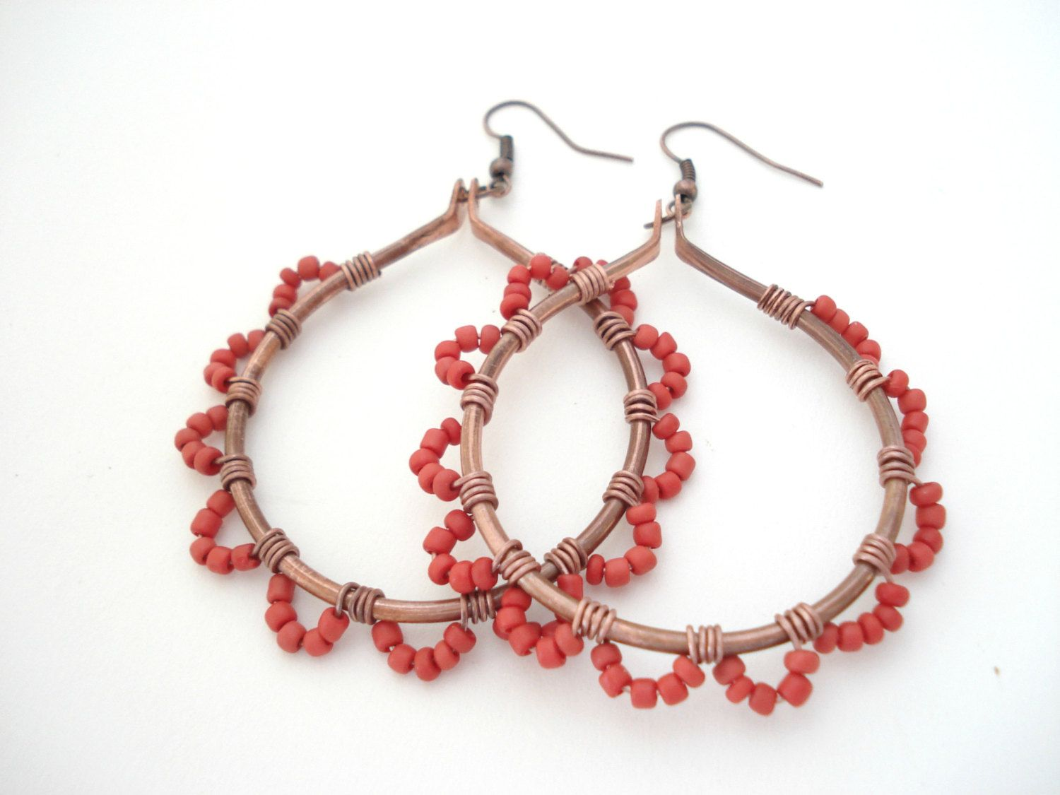 Large Copper Coral Wire Wrapped Hoop Earrings Boho Upcycled Copper ...