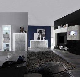 Photo of Sala moderna completa di Parete attrezzata, 2 Madie e Vetrina, Bianca lucida e B…