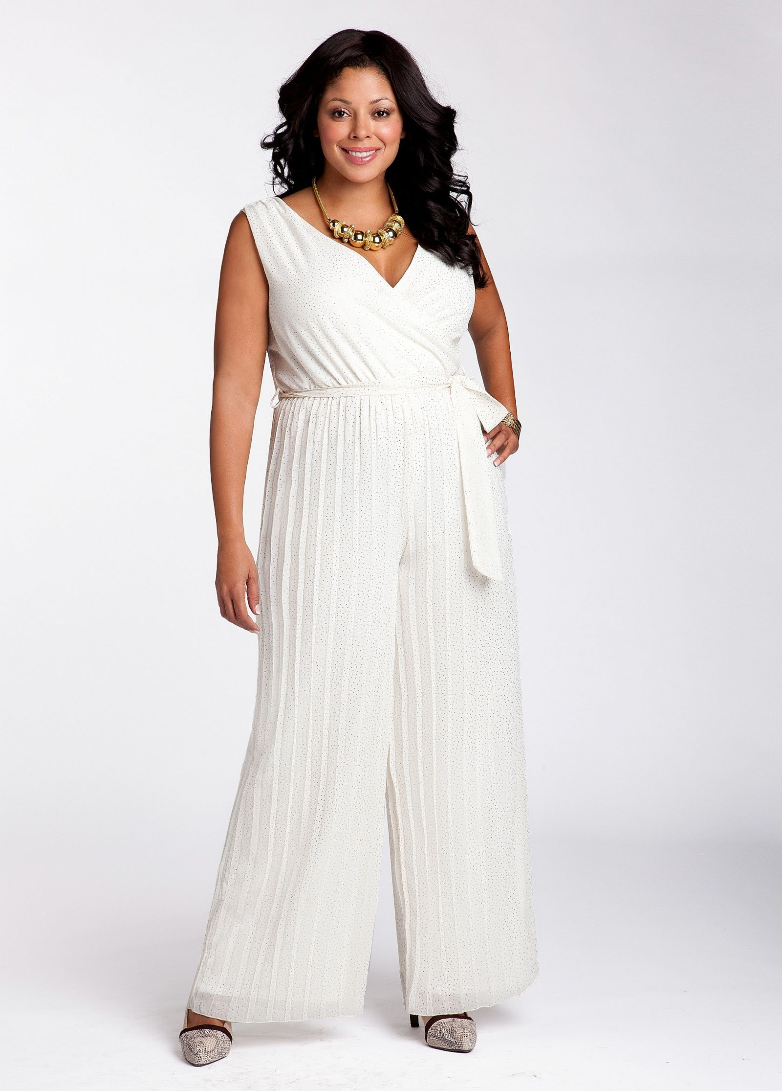 7c70acdcfb4b9  41.65 - Plus Size Ashley Stewart  Glitter Detail Pleated Jumpsuit ...