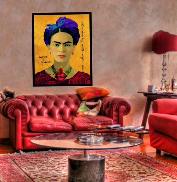 Frida Kahlo Art Print Amore Love Sacred Heart Mixed Media Collage Modern Home Photomontage Black White Gold Red Blue Small to Poster Yellow