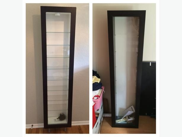 For sale are two very rare Bertby display cabinet units from Ikea. These  display cases are discontinued and very