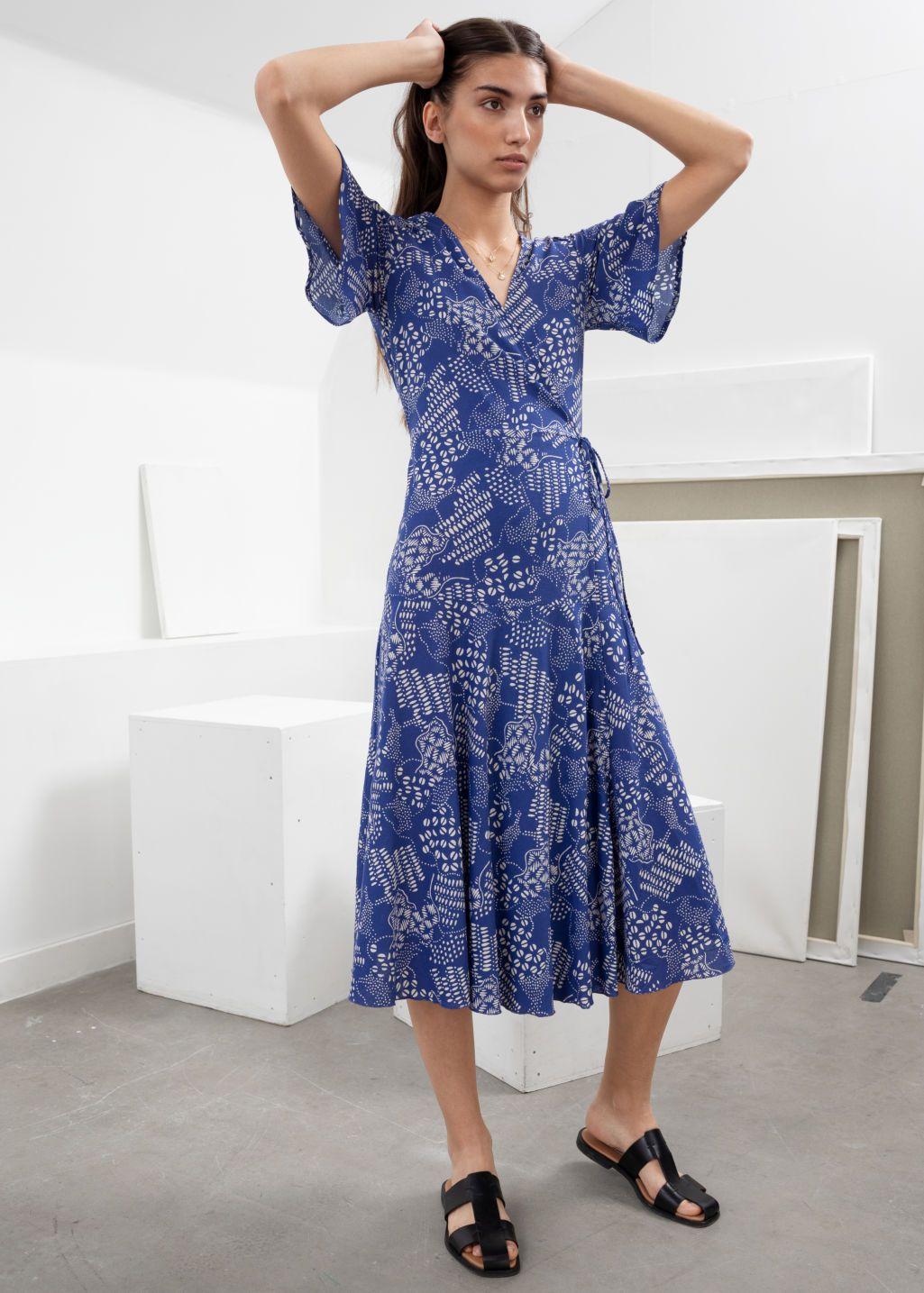 d89c040b8fb57 Ruffle Sleeve Cotton Wrap Dress in 2019   May '19   Wrap dress ...
