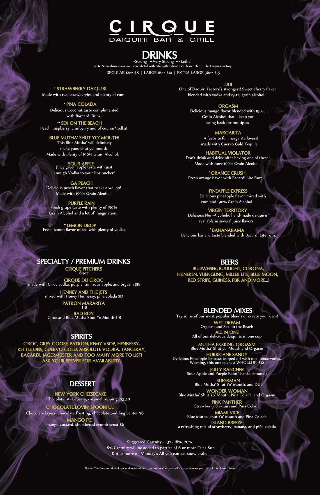 cirque-menu-2 | Lushious | Pinterest | Daiquiri bar, Drink menu ...