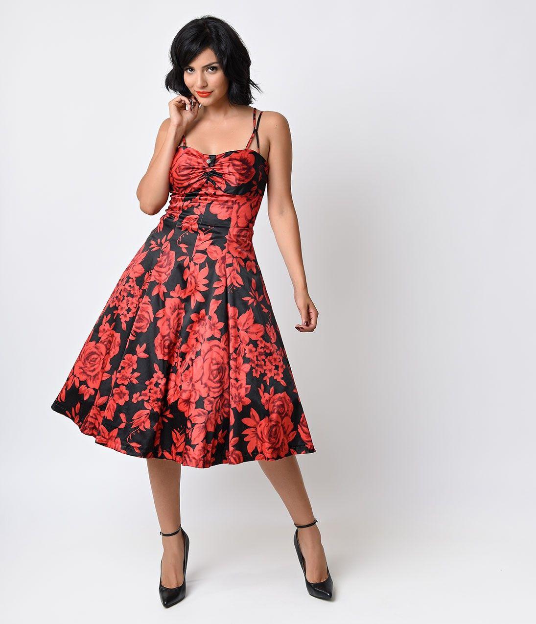 Black u red rose floral carnaby swing dress vintage inspired prom