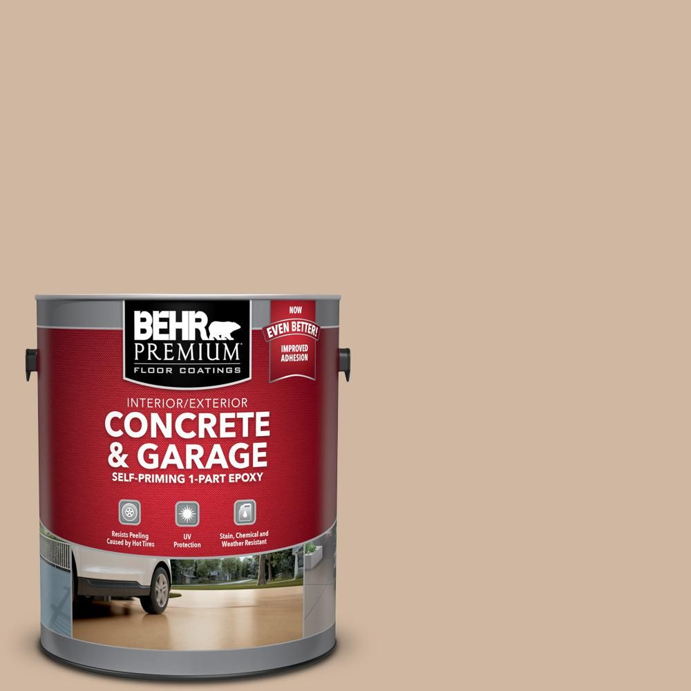Behr Premium 1 Gal N240 3 Sonoran Desert Self Priming 1 Part Epoxy Satin Interior Exterior Concrete And Garage Floor Paint 90001 Garage Floor Paint Painted Floors Stained Concrete