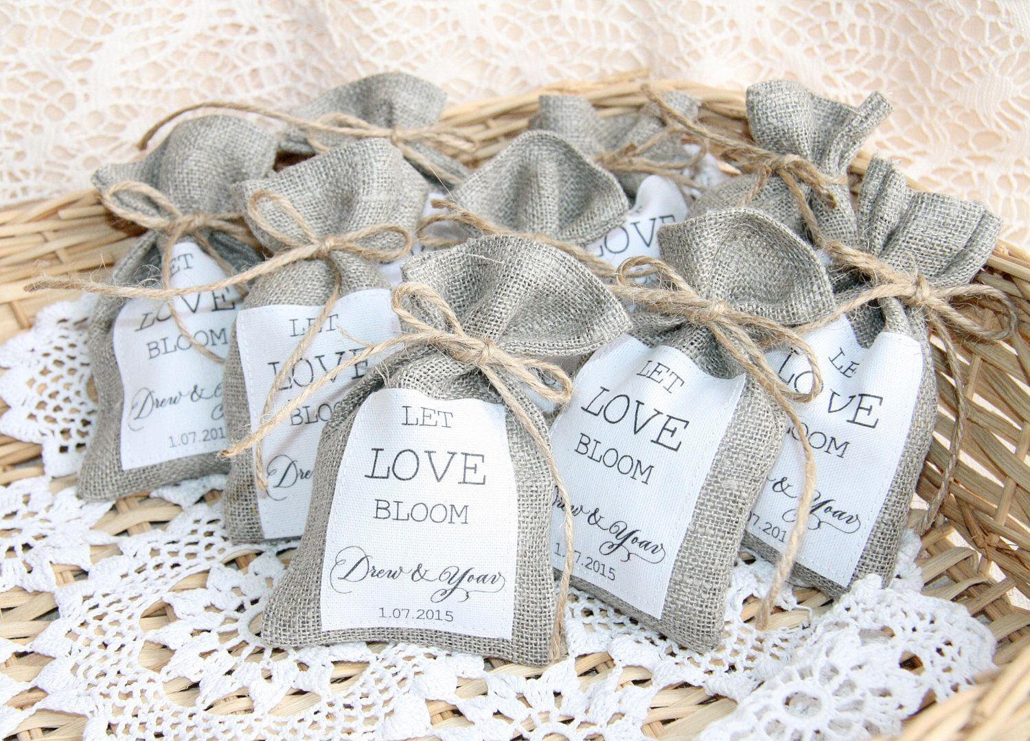 Burlap Favor Bags, Wedding Gift Bags, Natural Rustic Linen Bags ...