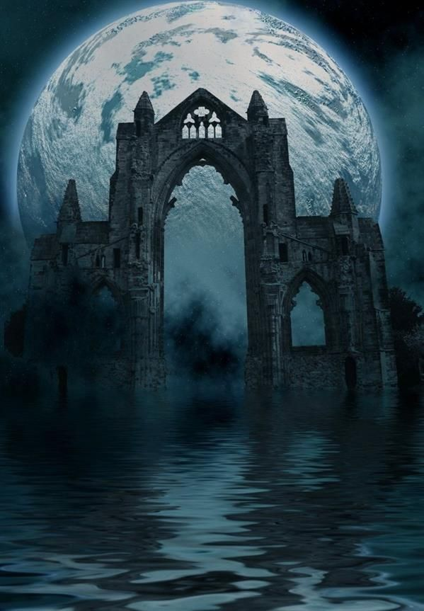 Premade Background Night Castle