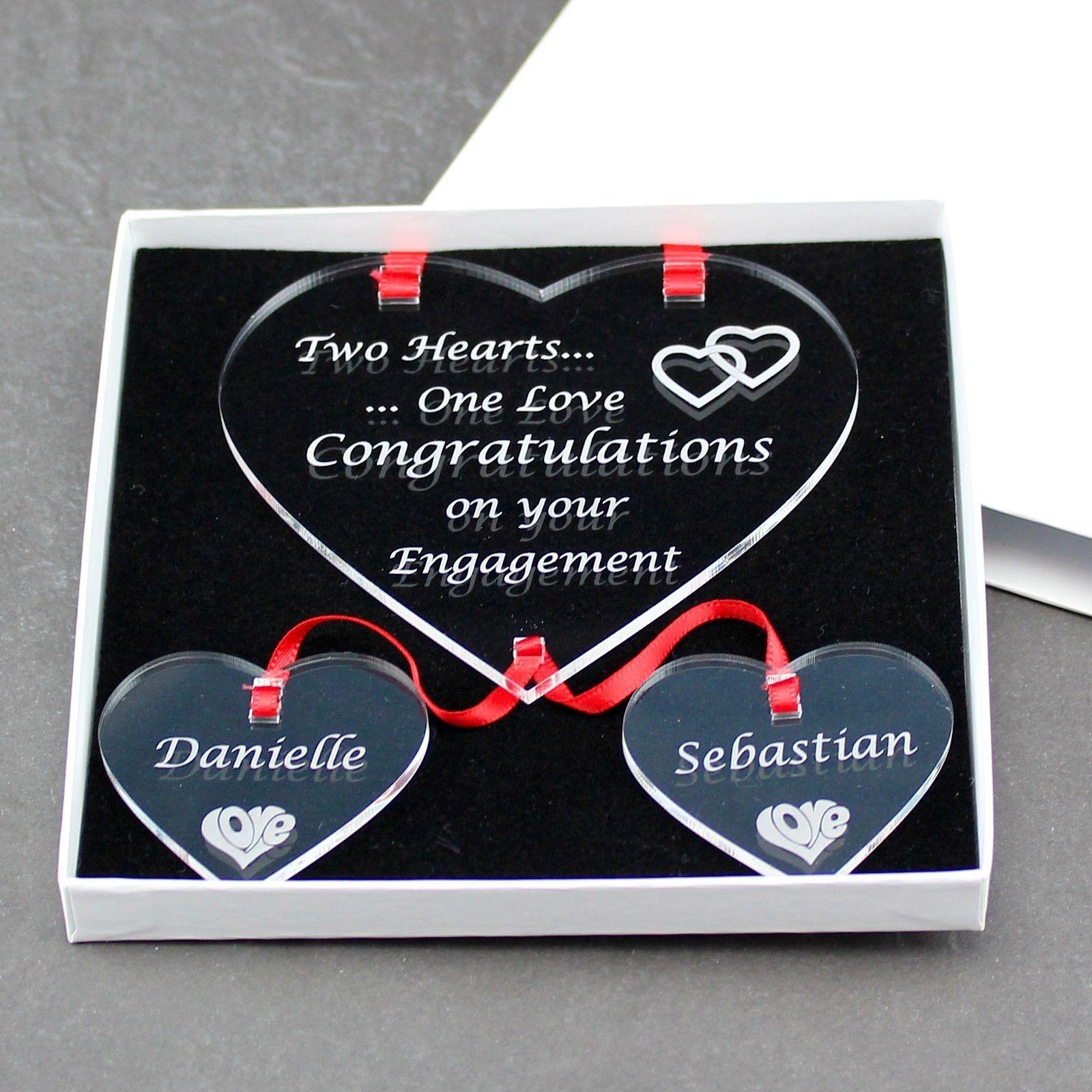 Wedding Gift PresentCOUPLETwo Hearts One Love KeepsakePersonalised