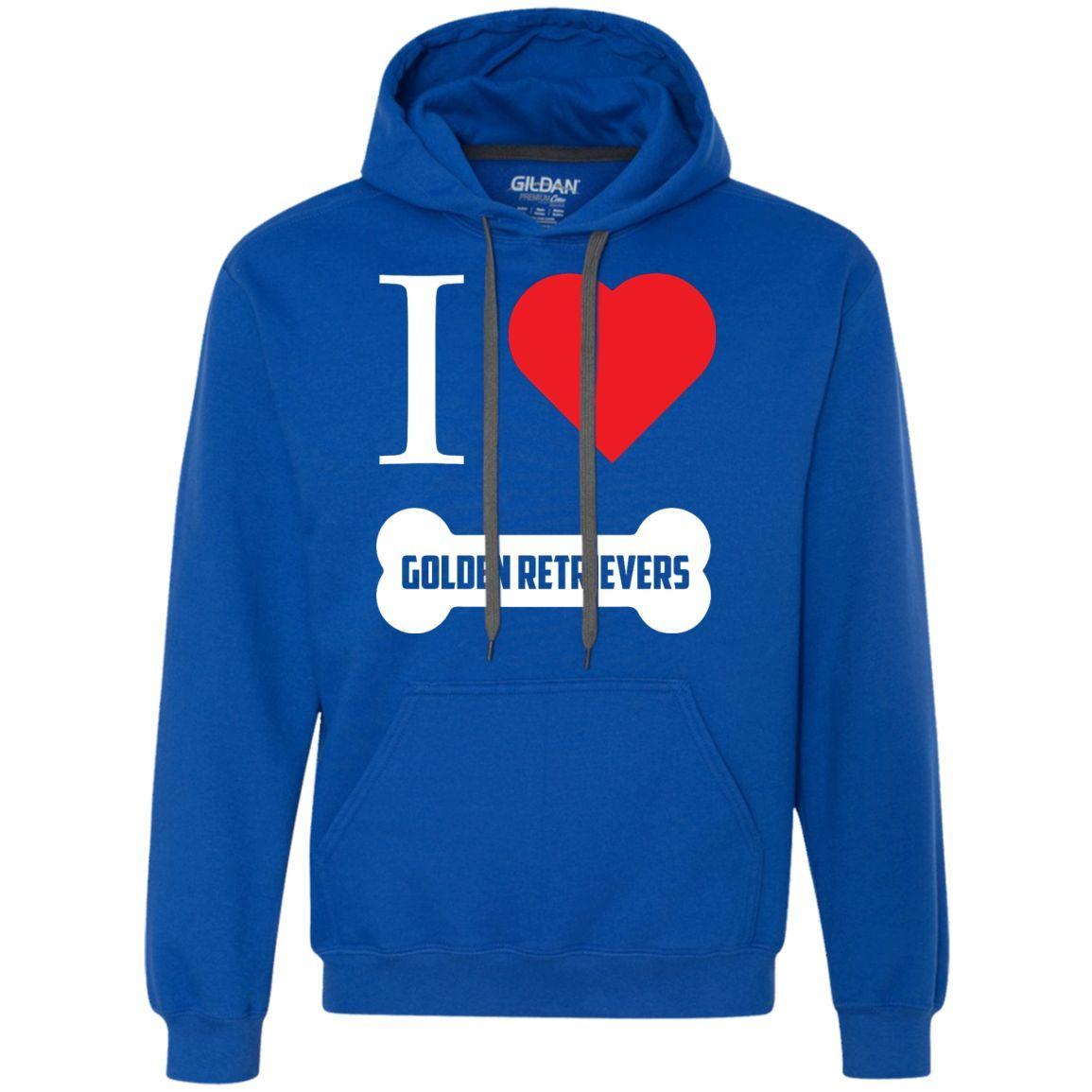 Golden Retriever- I LOVE MY GOLDEN RETRIEVER (BONE DESIGN) - Heavyweight Pullover Fleece Sweatshirt