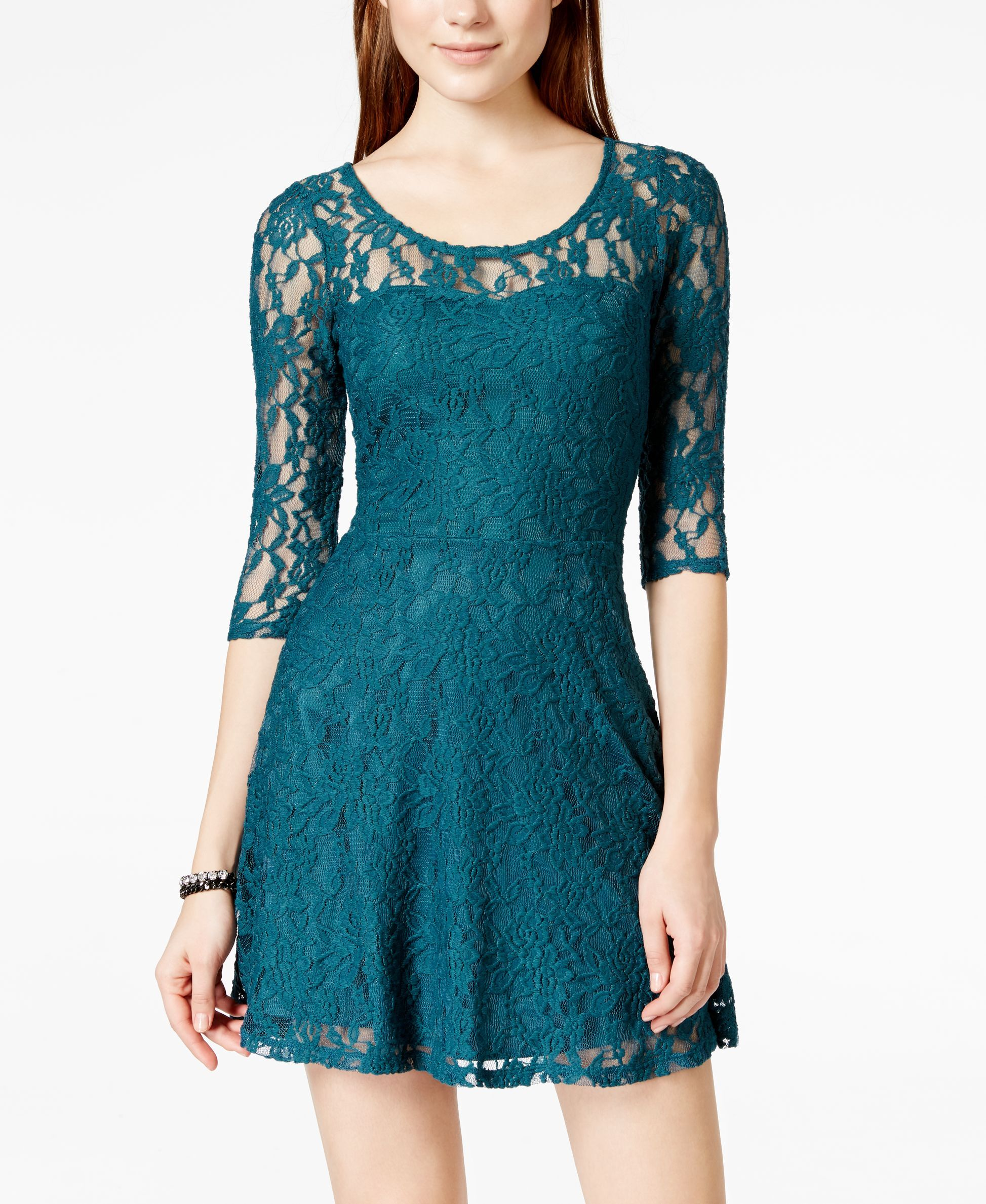 Material Girl Juniors  Lace Illusion Skater Dress  1823a76b1