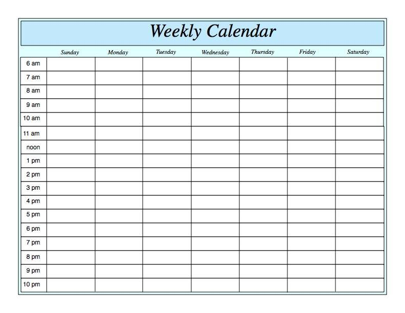 Weekly Calendar Printable  Google Search  Daily Schedule