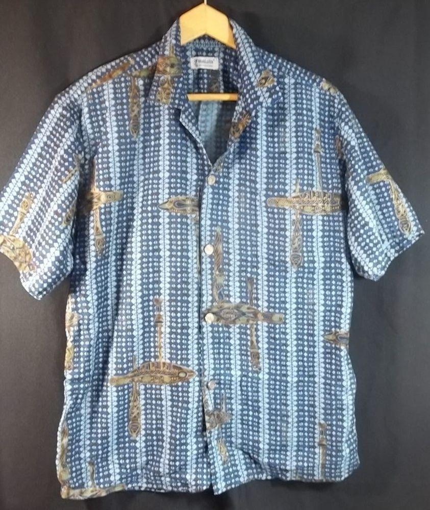 d7cf6ae5 Hoaloha Vintage Hawaiian Shirt Tiki Large Blue 1960's Made in Hawaii  #Hoaloha #Hawaiian