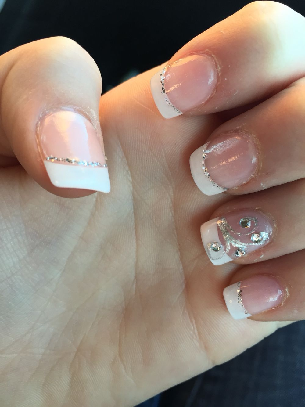 White French manicure, with glitter swirl accents! Love them ...