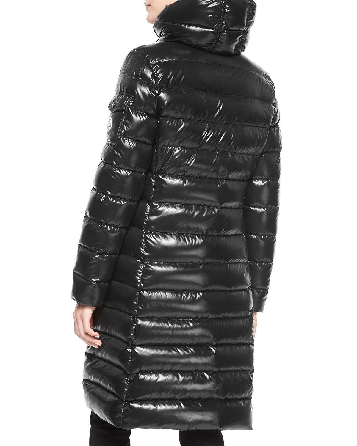 b29f209fc Moncler Moka Shiny Fitted Puffer Coat with Hood