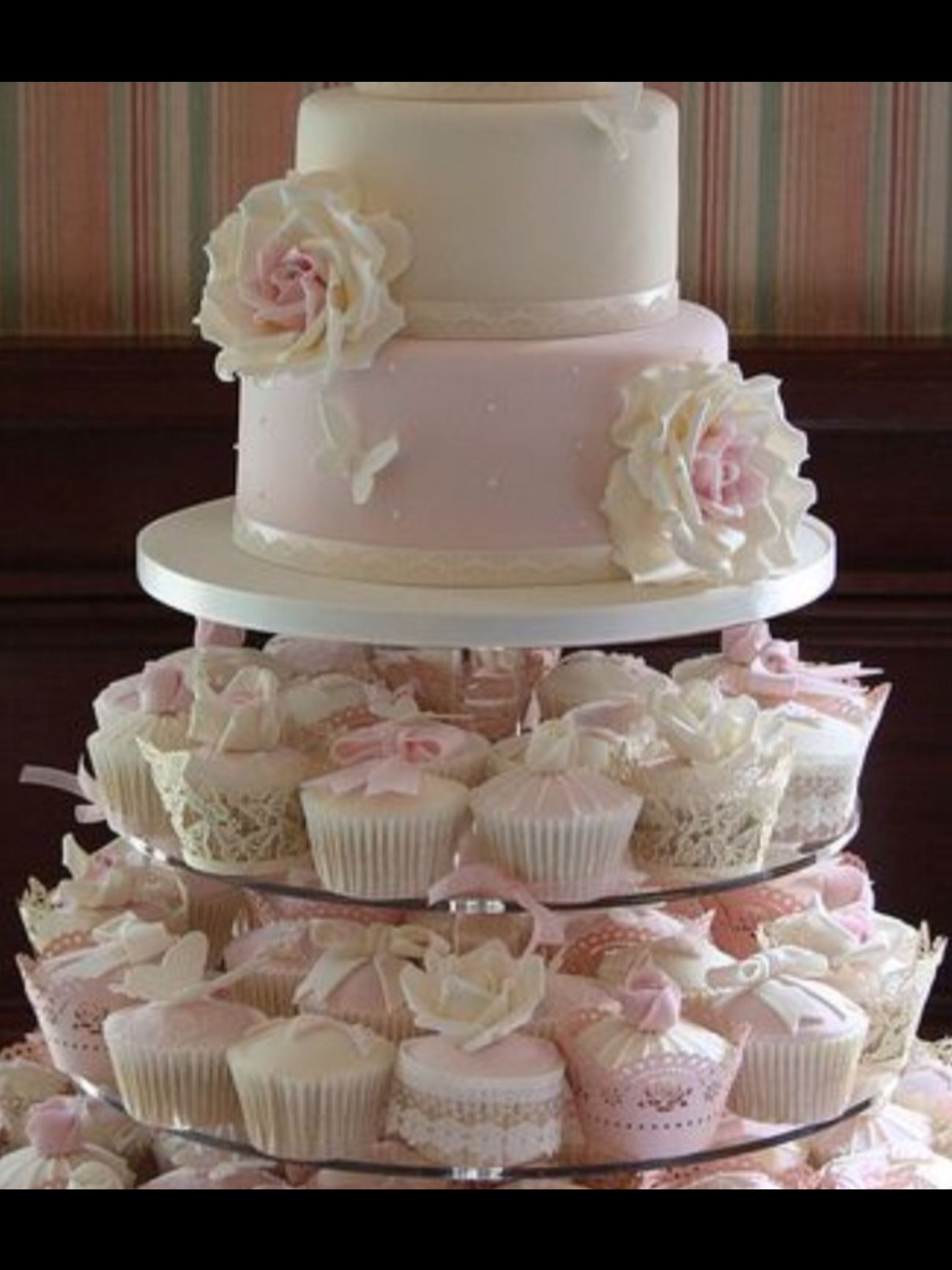 Wedding cakes with cupcakes image by Vanessa Cespedes on
