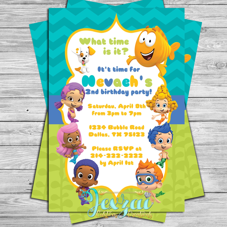 Bubble Guppies Birthday Invitation Bubble Guppies Party Bubble