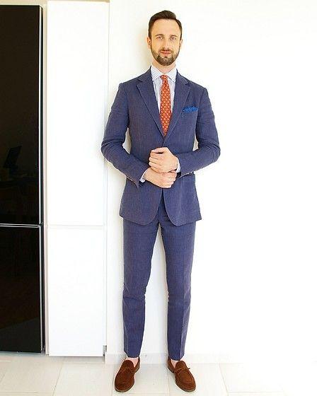 Blue linen suit, Mens outfits