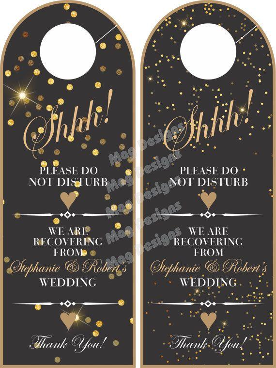 Do Not Disturb Door Hanger Black And Gold Wedding