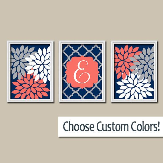 Coral Colored Wall Decor navy coral wall art-monogram baby girl nursery artwork-matching