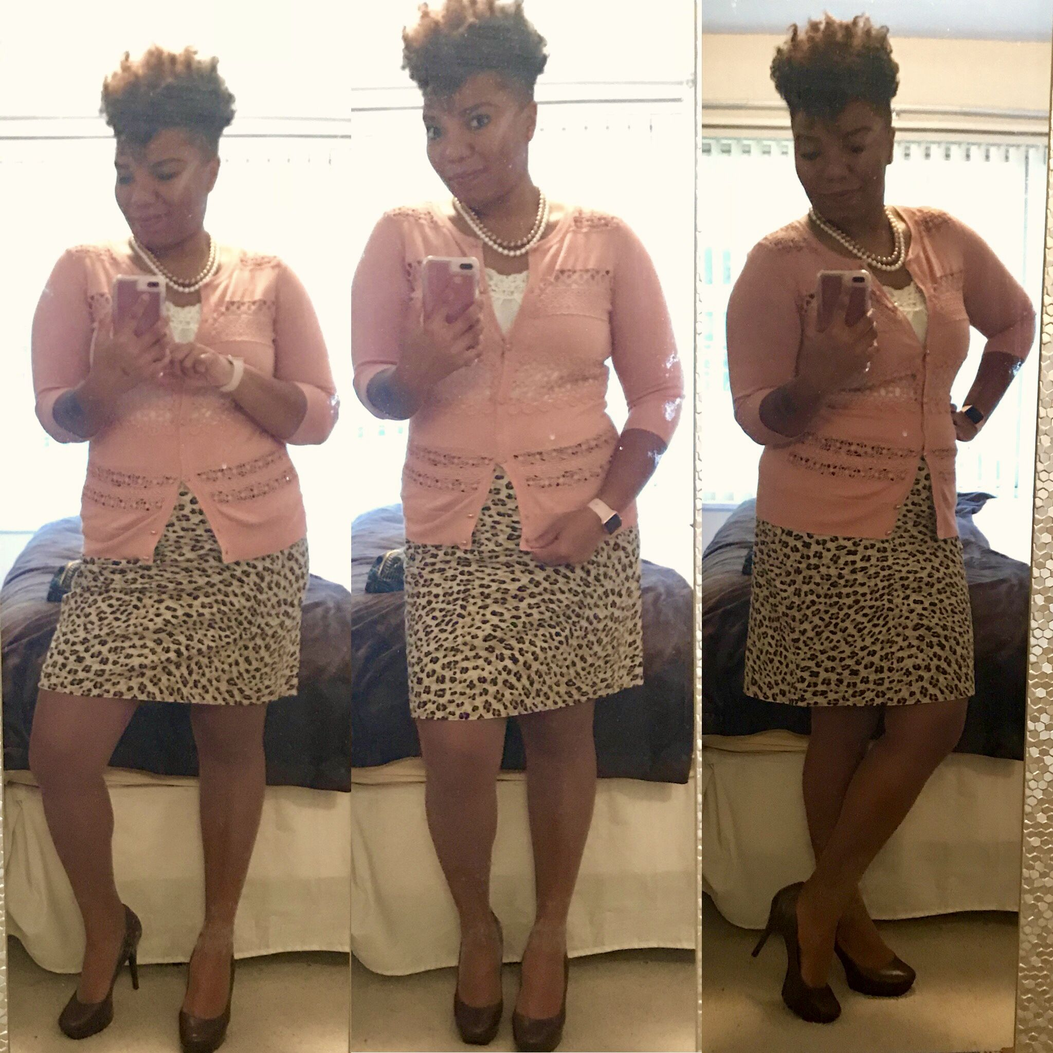 Leopard print skirt, dusty rose cardigan, cream camisole