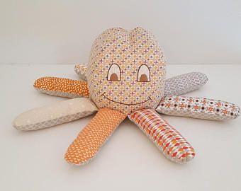 Octopus blue and ochre fabric - homemade