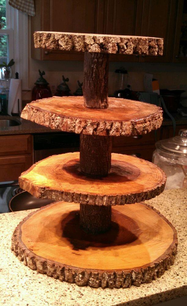 Rustic Wedding 4 Tier Natural Log Cupcake Amp Cake Topper