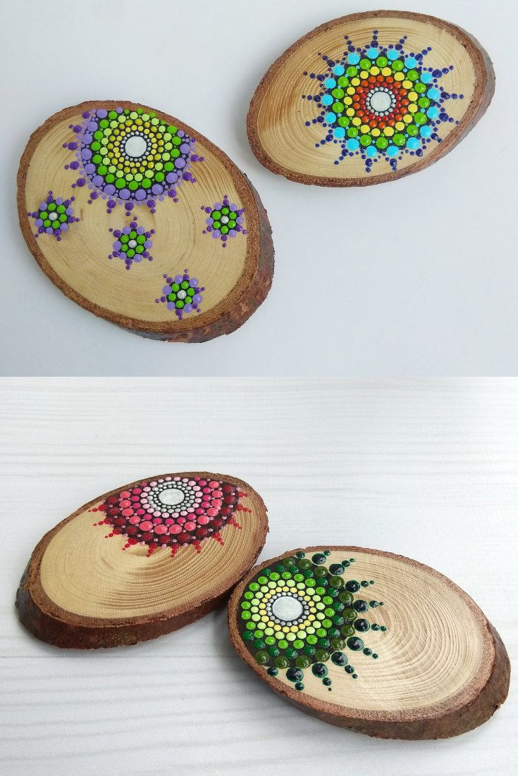 Photo of Mandala Dot Art Fridge Magnets on Wood Slices Set of 2, Eco Home Decor, Home Boho Decor,  Mandala Hand Painting