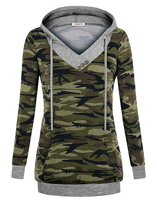 Hoodie for Women, Jazzco Women's Sweatshirt V-Neck Long Sleeve Camouflage Lightweight Pullover Hoodies with Kangaroo Pocket(Camouflage Green, Medium) at Amazon Women's Clothing store: