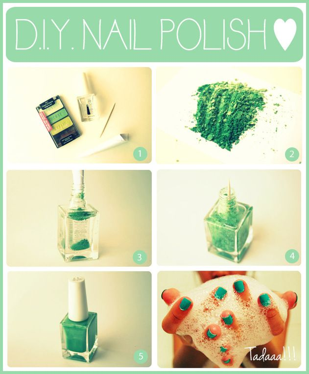 Make your Own Nail Polish from your fav shade of Eye Shadow.