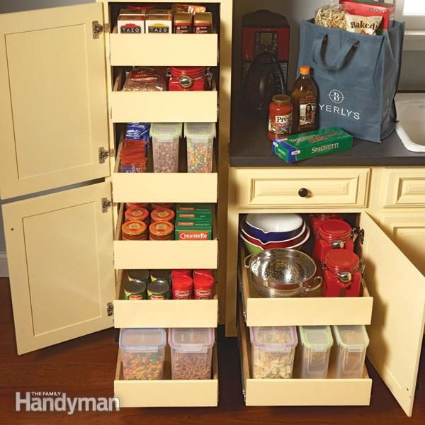 Add Rollouts To Your Kitchen Cabinets To Maximize Storage Space Provide Easier Access Streamline Small Kitchen Pantry Kitchen Cabinet Storage Pantry Cabinet