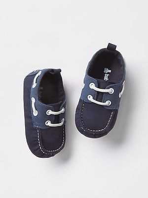 Gap Baby Boy Nwt Size 6 12 Months Navy Blue White Lace Up Boat Shoes Sneakers