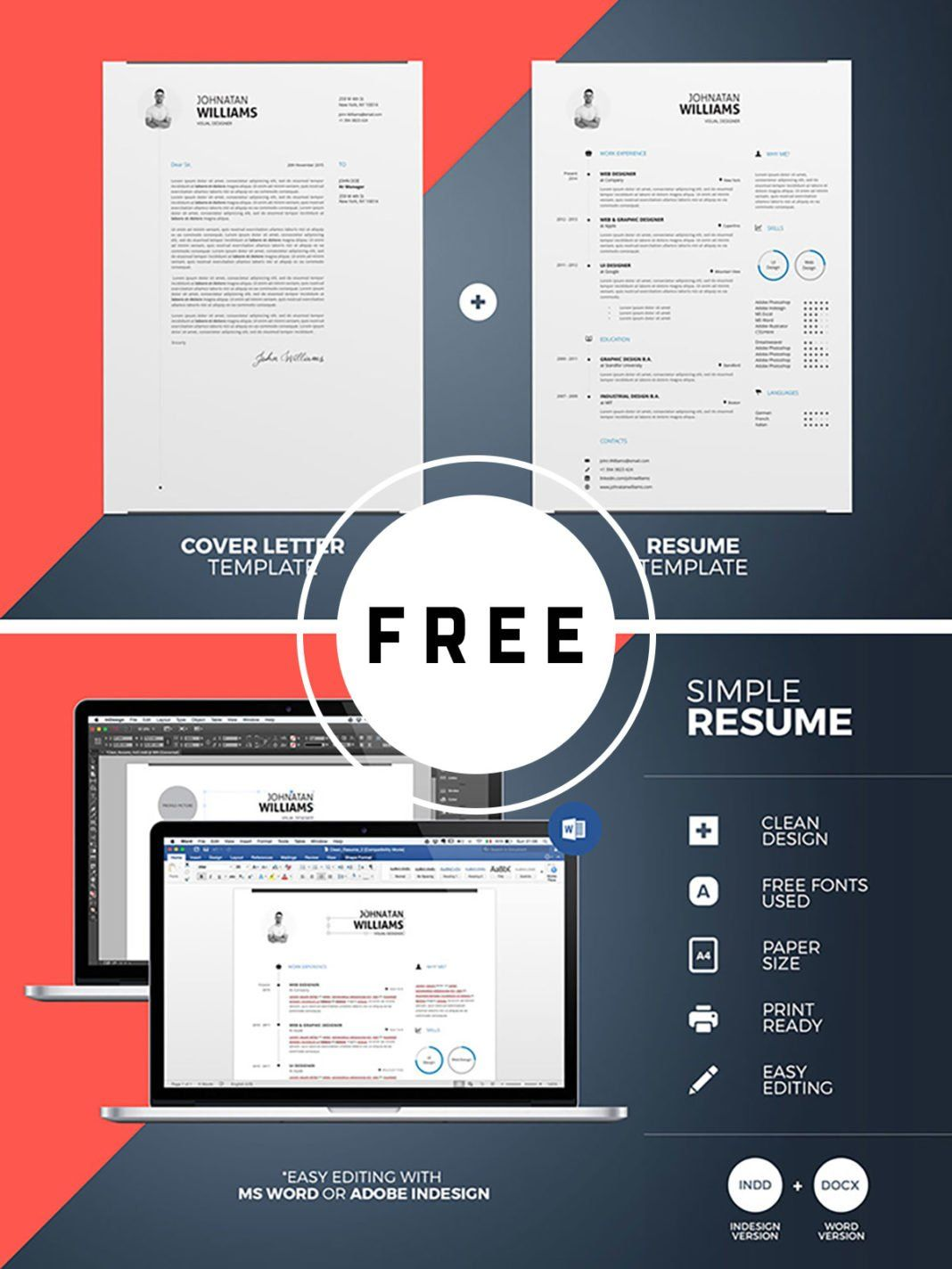 Free print CV template — download resume in INDD, DOC