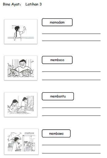 Latihan Bina Ayat Tahun 1 2 3 Elementary Learning Math Activities Preschool Preschool Learning