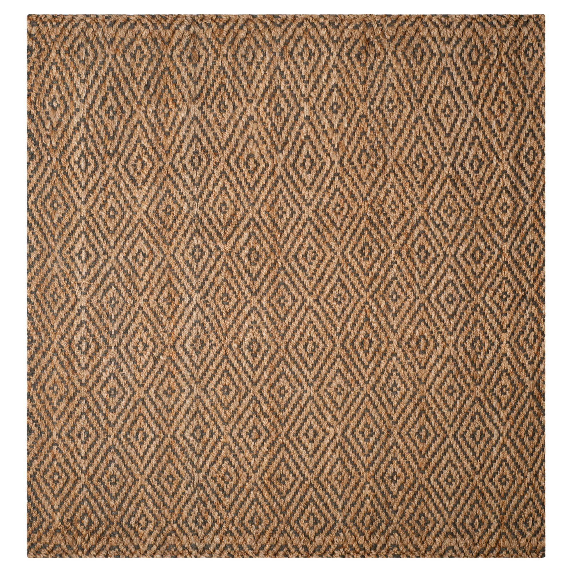 Natural Gray Abstract Hooked Square Area Rug 7 X7 Safavieh