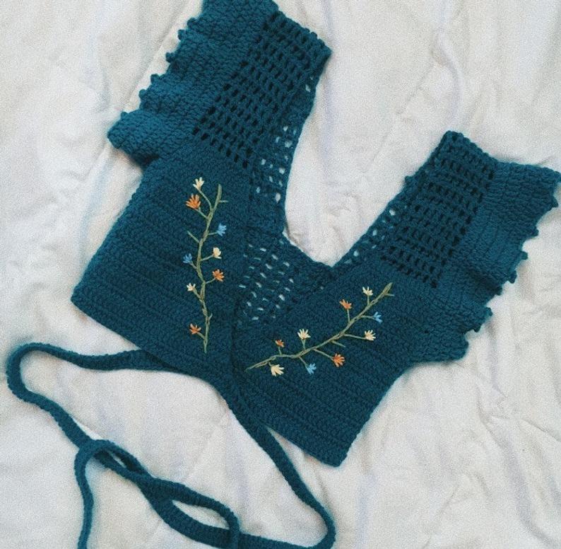 JUDE Wrap top, Crochet top, crochet crop top #summerswimwear