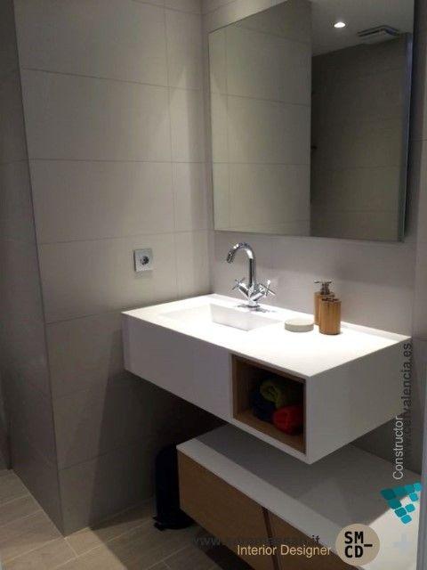 Vista mueble de ba o de la marca porcelanosa en reforma integral de apartamento en cullera - Muebles bano valencia ...