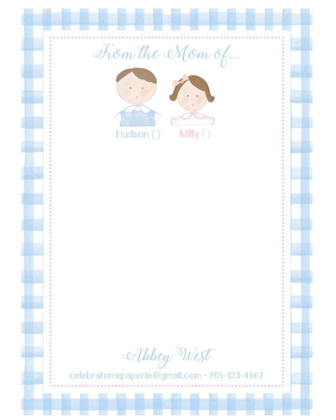 Celebrate Me Paperie On Instagram Y All I Am So Excited To Share With You These Personalized Heirloom Notepads F Little Boy And Girl Little Boys Boy Or Girl [ 1350 x 1080 Pixel ]
