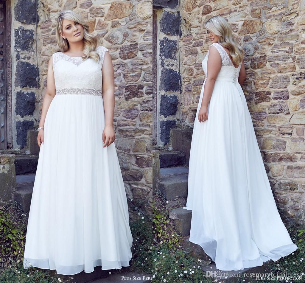 Beach wedding dresses plus size   Plus Size A Line Wedding Dresses Custom Made Full Lace Bodice