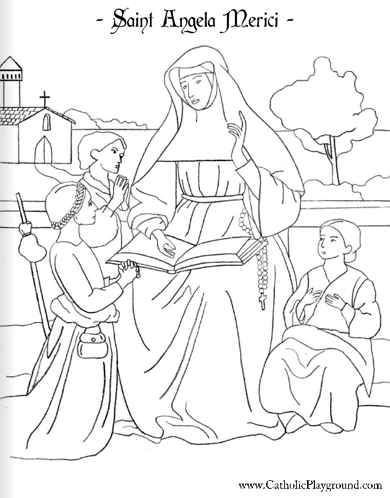 print a coloring page and read a bio of saint angela merici here on the catholic playground