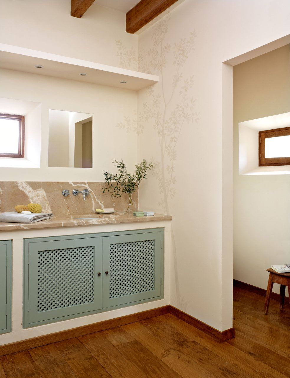 Muebles De Baño De Obra | Bano En Blanco Y Verde En 2018 Banyo Gelosia Verda Banos Cuarto