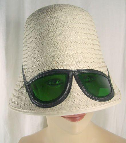 Vintage 1960s Bucket Sun Hat Sunglasses White Straw Mod