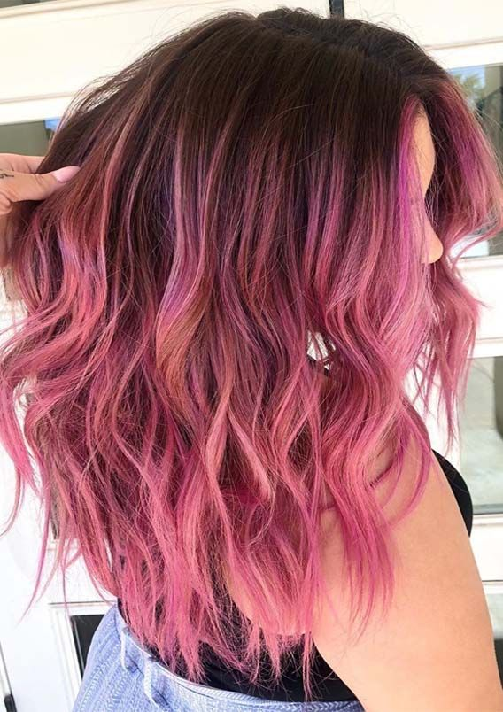 Fantastic Pink Shades With Dark Roots To Wear In 2019 With Images Pink Hair Hair Inspo Color Hair Dye Colors