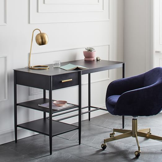 Desk West Elm Style Metalwork Desk 47 25 W X 22 D X 30 H Metal In A Hot Rolled Steel Finish This Piece S Finis Modern Desk Swivel Office Chair Furniture