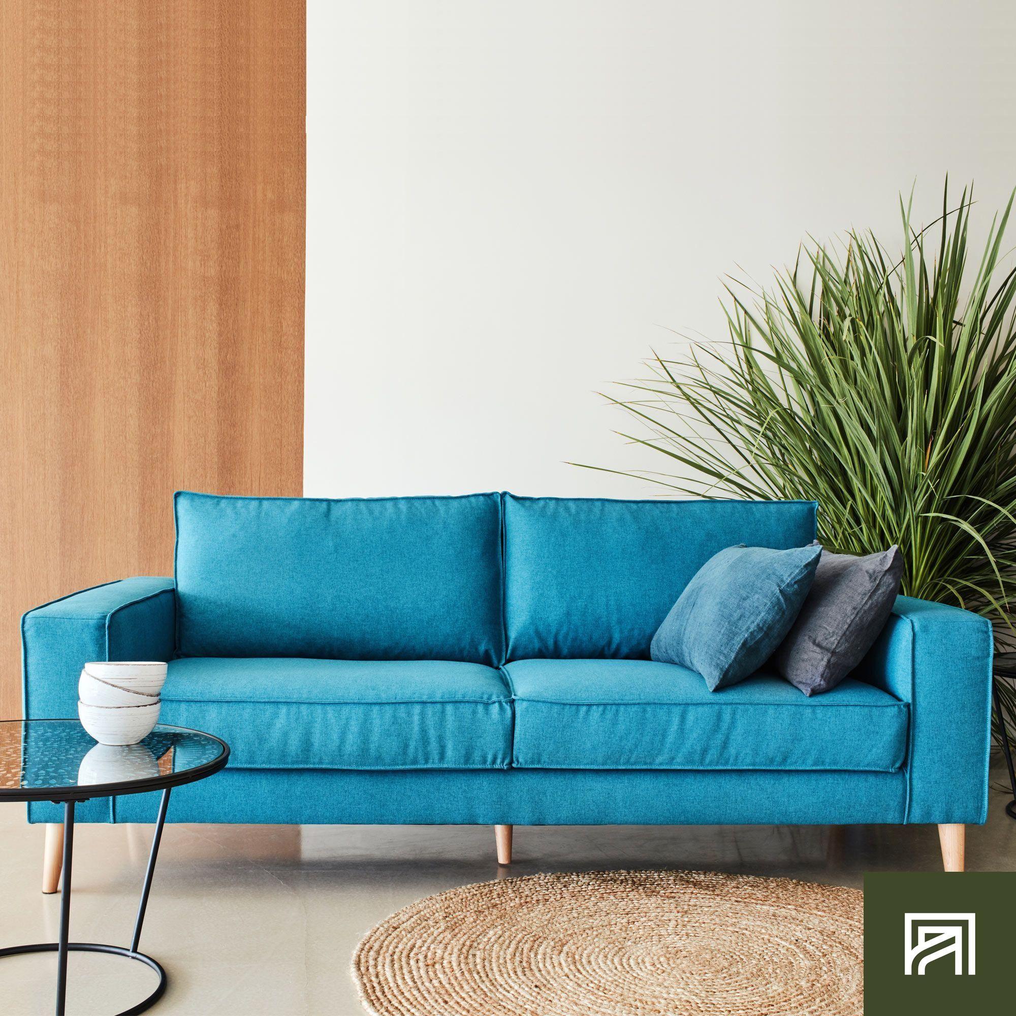 Fauteuil Lit Convertible Alinea alinea : california canapé 3 places fixe en tissu bleu