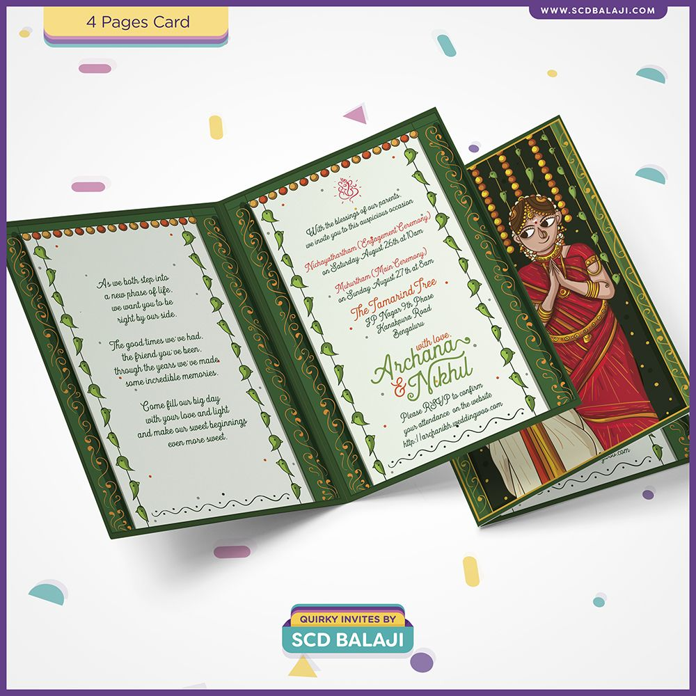 Tamil Brahmin Iyer Muhurtham Wedding Invitation Design And Illustration B Marriage Invitation Card Indian Wedding Invitations Wedding Invitation Card Wording