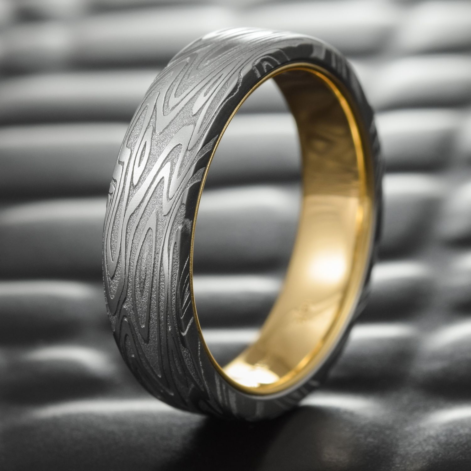 Damascus Steel Wedding Band By Steven Jacob Unique Gold Liner Ring At Mokume