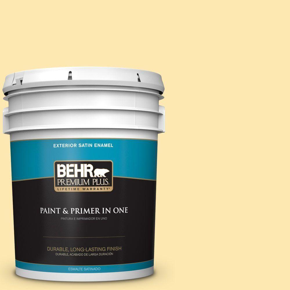 BEHR Premium Plus 5-gal. #P280-2 Gold Thread Satin Enamel Exterior Paint