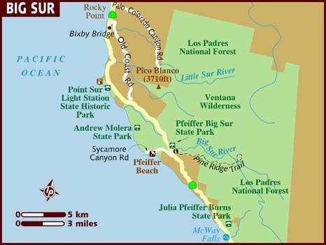 map of big sur west coast